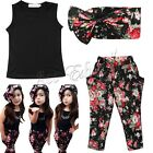 3PCS Baby Girls Floral Print T-shirt + Pants + Hair Band Set Kids Outfits 9M-6Y
