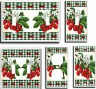 CHERRIES GREEN GINGHAM PLAID  LIGHT SWITCH COVER PLATE # 2 U PICK PLATE SIZE