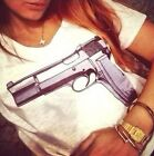 Elegant Women Chic Short Sleeve Gun Graphic Printed T Shirt Tee Blouse Tops - CB