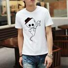 Men Shirt Tee Casual White Cotton Crew Neck Short Sleeve Hot XS S M