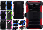 For LG Sunrise L15G Hybrid Combo Holster KICKSTAND Rubber Case Phone Cover