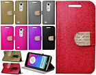 For LG Leon C40 Diamante Glitter Leather Wallet Pouch Flip Cover +Screen Guard