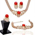 Women 18k Gold Plated Crystal Pendant Necklace Bracelet jewelry sets In 2 Colors