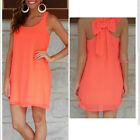 New Women Chiffon Loose Round Neck Sleeveless Orange Back Bow Dress Applied