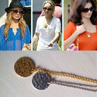 2015 New Gold/silver Hammered Disc Disk Coin Circle Round Pendant Necklace Chain