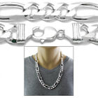925 Sterling Silver Men's Figaro Link Chain Necklace 14mm 350