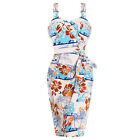 Hell Bunny Tiki Hawaii Tropical Floral 50s Sarong Style Pencil Dress
