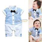 Newborn Baby Boys Suit Gentleman Striped One Piece Romper Outfit Clothes 0-18M