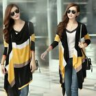 Modish Women Splicing Irregular Button Striped Cardigan Sweater Tops Blouse - CB