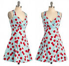 Women Vintage 1950'S Rockabilly Cherry Printing Formal Evening Party Swing Dress