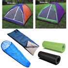 3 Piece Set for Camping - 2 Person Waterproof Tent Sleeping Bag & Foam Mat New