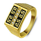 Gold Plated Men Ring with Black Paint and Nice Pattern