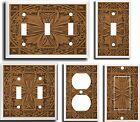 IMAGE OF FLORAL TILE BROWN LIGHT SWITCH COVER PLATE U PICK PLATE SIZE