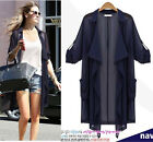 Ladies oversize short Sleeveless coat cardigan cape tops shirt dress plus size