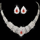 Charm Wedding Bridal Party Prom Rhinestone Crystal Necklace Earrings Jewelry Set