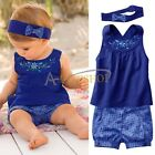 3PCs Baby Girls Infant Child Top Shirt +Pants +Headband Outfit Set Clothes 3-24M