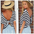 Womens Casual Blouse Black White Striped Chiffon Short Sleeve Loose Tops T-Shirt