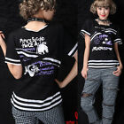 OPEN SHOULDER LOLITA GOTHIC SKULL SHIRT CUTE PUNK 71315 BLACK M-L
