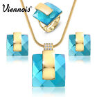 VIennois 2015 Hot 18K Gold GP Blue Crystal Rhinestone Earrings/Necklace/Ring Set