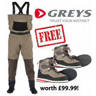 NEW! Greys STRATA CTX Breathable Chest Waders With FREE WADING BOOTS worth £99!!