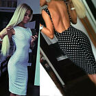 New Fashion Sexy Women Polka Dot Dress Sleeveless Halter Pencil Dress  HOT