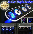 In Car Triple Socket Splitter Plug Charger Adapter w/ USB Port + LED Switch