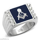 Masonic Mason Blue Top Ten Stones Silver Stainless Steel Mens Ring