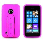 For Nokia Lumia 530 - Rugged Hard Cover Hybrid Case W/ Kickstand and Card Holder