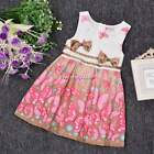 New Kids Girl's O-neck Sleeveless Butterfly Print Bow-knot Tank Dresses N4U8