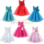 Flower Girls Big Bow Dress Wedding Bridesmaid Party Pageant Age 1 2 3 4 5 6 7 8