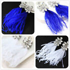 New Fashion Woman's White/Blue Feather Crystal Bling Stud Drop/Dangle Earrings