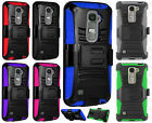 For LG Escape 2 Combo Holster HYBRID KICK STAND Rubber Case +Screen Protector