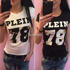 Fashion Women Slim T Shirt  Short Sleeve Blouse Casual Top Letters Print N4U8