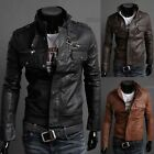 Mens Rider Zip Up Leather Motorcycle Jackets Outerwears 3 Colors 4SZ