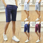 Summer Men's Solid Casual Slim Fit Capris Shorts Summer Straight Shorts Pants
