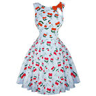 Womens Blue Red Cherry Rockabilly 50s Vintage Pinup Party Prom Swing Dress