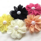 5/25/125PCS Fabric Ribbon Flowers Bows W/ Rhinestone Appliques Craft Bulk A445