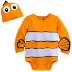 DISNEY STORE NEMO BODYSUIT COSTUME SET FOR BABY 3-D FINS BEANIE WITH BIG EYES