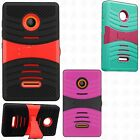 For Nokia Lumia 435 Hard Gel Rubber KICKSTAND Case Phone Cover Accessory