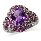 Amethyst & Rhodolite Garnet White Gold Plated 925 Sterling Silver Cocktail Ring