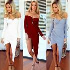 Women Charm Strapless Long Sleeve Off the Shoulder Irregular Dress Bodycon HK