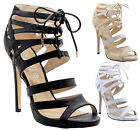 Ladies Womens Cut Out Lace Up High Heel Ankle Strap Gladiator Sandals Shoes Size