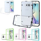 Clear PC and TPU Gel Silicone Bumper Case Cover For Samsung Galaxy S6 Edge + Scr