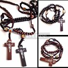 Catholic Black Brown Wooden Rosary Beads Cross Necklace Pendant Free Shipping