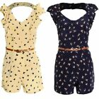 Ladies Low Back Frill Front Belted Women's Swallow Bird Nautical Print Playsuit