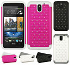 For HTC Desire 610 HYBRID IMPACT Dazzling Diamond Case Phone Cover Accessory