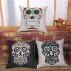 Cotton Linen Vintage Skull Throw Pillow Case Bed Sofa Cushion Cover Home Decor