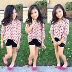 Kids Girls Baby Clothes Heart Shirt Blouse Tops + Shorts Pants Outfit Set N4U8