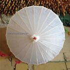 2 X Chinese Plain Umbrella for Painting Parasol Dance Retro Craft Cosplay White