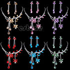 Beauty Women Flower Leaf Rhinestone Crystal Drop Necklace Earrings Jewelry Sets